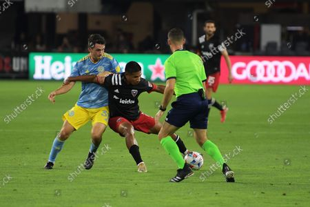 DC United player, Edison Flores and Philadelphia player Jack Elliot seen in action during the match DC United vs Philadelphia at Audi Field in Washington. Final score ; DC United 3 Philadelphia 1
