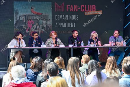 """Stock Picture of France, Lille, 27 august 2021 Cast of """"Demain nous appartient"""" (L to R) Honorine Magnier, Kamel Belghazi, Ariane Seguillon, Franck Monsigny, Luce Mouchel attend """"Demain nous appartient """" Fan club meeting during the Series Mania Festival - Day Two on August 27, 2021 in Lille, France."""