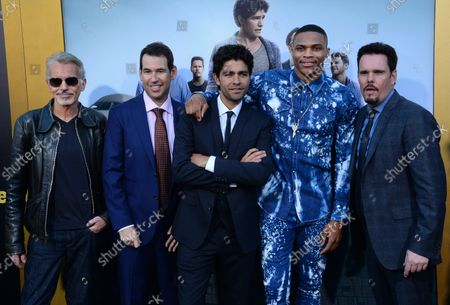 """Cast members Billy Bob Thorton, director Doug Ellin, Adrian Grenier, Russell Westbrook and Kevin Dillon (L-R) attend the premiere of the motion picture comedy """"Entourage"""" at the Regency Village Theatre in the Westwood section of Los Angeles on June 1, 2015. Storyline: Movie star Vincent Chase, together with his boys Eric, Turtle, and Johnny, are back - and back in business with super agent-turned-studio head Ari Gold on a risky project that will serve as Vince's directorial debut."""