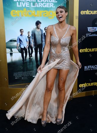 """Model Samantha Hoopes attends the premiere of the motion picture comedy """"Entourage"""" at the Regency Village Theatre in the Westwood section of Los Angeles on June 1, 2015. Storyline: Movie star Vincent Chase, together with his boys Eric, Turtle, and Johnny, are back - and back in business with super agent-turned-studio head Ari Gold on a risky project that will serve as Vince's directorial debut."""