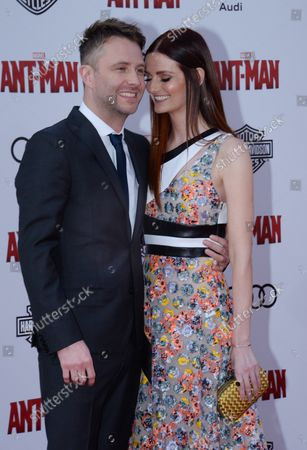 """Comedian and television host Chris Hardwick and and his girlfriend, actress Lydia Hearst attend the premiere of the sci-fi motion picture """"Ant-Man"""" at the Dolby Theatre in the Hollywood section of Los Angeles on June 29, 2015. Storyline: Armed with a super-suit with the astonishing ability to shrink in scale but increase in strength, con-man Scott Lang (Rudd) must embrace his inner hero and help his mentor, Dr. Hank Pym (Michael Douglas), plan and pull off a heist that will save the world."""