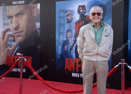 """Comic book icon Stan Lee attends the premiere of the sci-fi motion picture """"Ant-Man"""" at the Dolby Theatre in the Hollywood section of Los Angeles on June 29, 2015. Storyline: Armed with a super-suit with the astonishing ability to shrink in scale but increase in strength, con-man Scott Lang (Paul Rudd) must embrace his inner hero and help his mentor, Dr. Hank Pym (Michael Douglas), plan and pull off a heist that will save the world."""