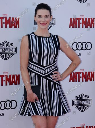 """Actress Bridget Regan attends the premiere of the sci-fi motion picture """"Ant-Man"""" at the Dolby Theatre in the Hollywood section of Los Angeles on June 29, 2015. Storyline: Armed with a super-suit with the astonishing ability to shrink in scale but increase in strength, con-man Scott Lang (Rudd) must embrace his inner hero and help his mentor, Dr. Hank Pym (Michael Douglas), plan and pull off a heist that will save the world."""