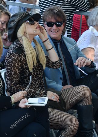 Singers Orianthi (L) and Richie Sambora attend  an unveiling ceremony honoring  recording engineer Schmitt with the 2,557th star on the Hollywood Walk of Fame in Los Angeles on August 13, 2015.