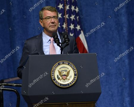Secretary of Defense Ashton B. Carter speaks at a ceremony in remembrance of four Marines and a sailor who were killed in attacks at two military facilities in Chattanooga, Tennessee on August 15, 2015.