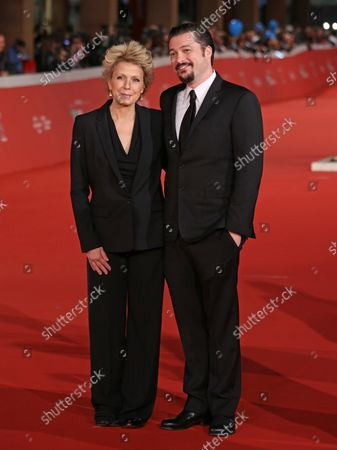 """Mary Mapes and James Vanderbilt arrive on the red carpet before the screening of the film """"Truth"""" at the 10th annual Rome International Film Festival in Rome on October 16, 2015."""