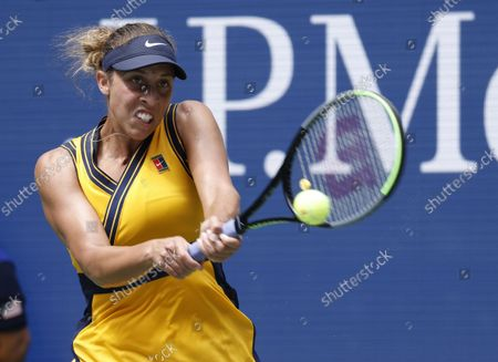 Madison Keys of the US hits a return to Sloane Stephens of the US during their match on the first day of the US Open Tennis Championships the USTA National Tennis Center in Flushing Meadows, New York, USA, 30 August 2021. The US Open runs from 30 August through 12 September.