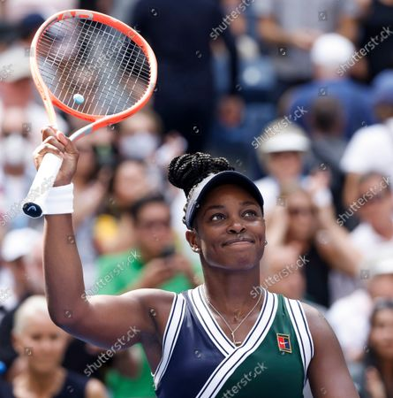 Sloane Stephens of the US reacts after defeating Madison Keys of the US during their match on the first day of the US Open Tennis Championships the USTA National Tennis Center in Flushing Meadows, New York, USA, 30 August 2021. The US Open runs from 30 August through 12 September.