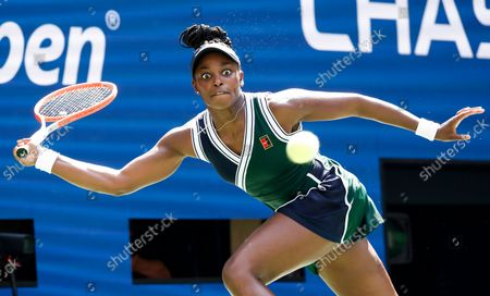 Sloane Stephens of the US hits a return to Madison Keys of the US during their match on the first day of the US Open Tennis Championships the USTA National Tennis Center in Flushing Meadows, New York, USA, 30 August 2021. The US Open runs from 30 August through 12 September.