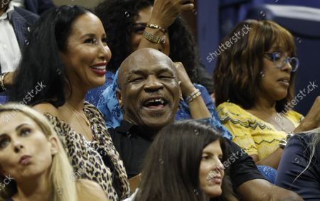 Boxing great Mike Tyson (C) in the stands during the Opening Night Ceremony on the first day of the US Open Tennis Championships the USTA National Tennis Center in Flushing Meadows, New York, USA, 30 August 2021. The US Open runs from 30 August through 12 September.