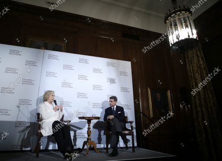 Fareed Zakaria speaks with former United States Secretary of State and Democratic candidate for President of the United Staes Hillary Clinton after she delivers an address in the wake of the Paris attacks outlining her strategy for defeating ISIS at the Council on Foreign Relations' Pratt House in New York City on November 19, 2015.