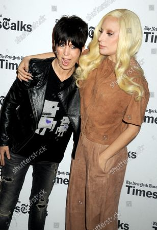 Diane Warren and Lady Gaga arrive on the red carpet at TimesTalks Presents' 'Hunting Ground' With Lady Gaga, Diane Warren, Kirby Dick and Amy Ziering at Times Center in New York City on December 10, 2015.