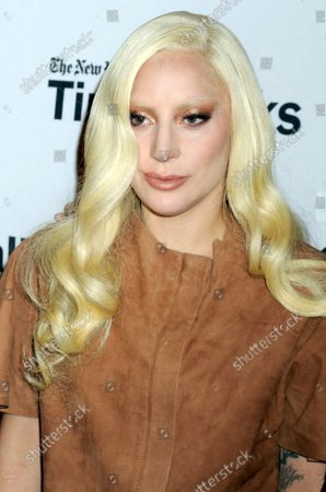 Lady Gaga arrives on the red carpet at TimesTalks Presents' 'Hunting Ground' With Lady Gaga, Diane Warren, Kirby Dick and Amy Ziering at Times Center in New York City on December 10, 2015.