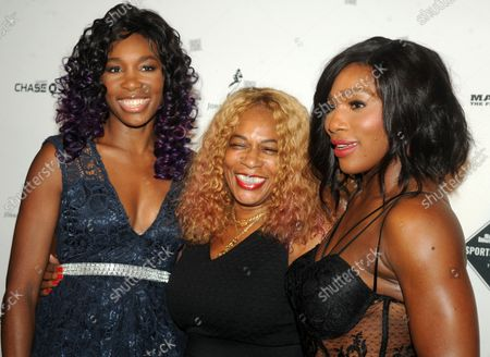 Stock Picture of Serena Williams,  Oracene Price and Venus Williams arrive on the red carpet at the 2015 Sports Illustrated Sportsperson of the Year Ceremony at Pier Sixty at Chelsea Piers in New York City on December 15, 2015. Serena Williams is the winner of this years Sportsperson of the year Award.