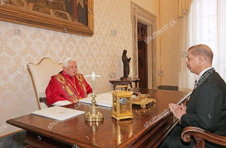 Pope Benedict XVI and President James Michel, President of the Republic of the Seychelles
