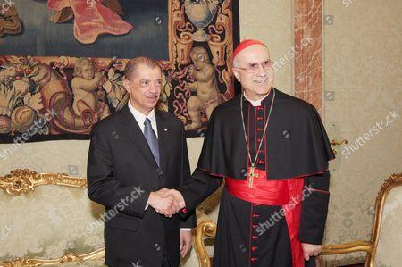 President of Republic of Seychelles James Michel and Cardinal Tarcisio Bertone