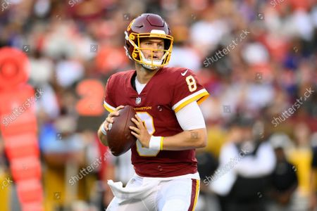 Washington Football Team quarterback Kyle Allen (8) in action during the first half of a preseason NFL football game against the Baltimore Ravens, in Landover, Md