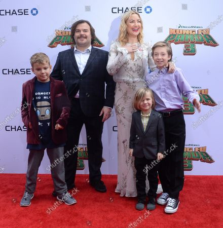 """Cast members Jack Black, the voice of Po and Kate Hudson, the voice of Mei Mei in the animated motion picture comedy """"Kung Fu Panda 3"""" and their sons Samuel Jason Black, Bingham Hawn Bellamy and Ryder Robinson (L-R) attend the premiere of the film at TCL Chinese Theatre in the Hollywood section of Los Angeles on January 16, 2016. Storyline: Continuing his """"legendary adventures of awesomeness"""", Po must face two hugely epic, but different threats: one supernatural and the other a little closer to his home."""