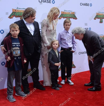 """Cast members Jack Black, the voice of Po and Kate Hudson, the voice of Mei Mei in the animated motion picture comedy """"Kung Fu Panda 3"""" and their sons Samuel Jason Black, Bingham Hawn Bellamy and Ryder Robinson (L-R) attend the premiere of the film at TCL Chinese Theatre in the Hollywood section of Los Angeles on January 16, 2016. At right is actor Justin Hoffman.Storyline: Continuing his """"legendary adventures of awesomeness"""", Po must face two hugely epic, but different threats: one supernatural and the other a little closer to his home."""