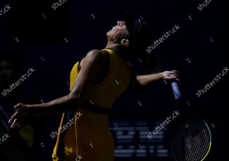 Madison Keys serves to Sloane Stephens before losing in straight sets in Arthur Ashe Stadium in the first round of the 2021 US Open Tennis Championships at the USTA Billie Jean King National Tennis Center on Monday, August 30, 2021 in New York City.