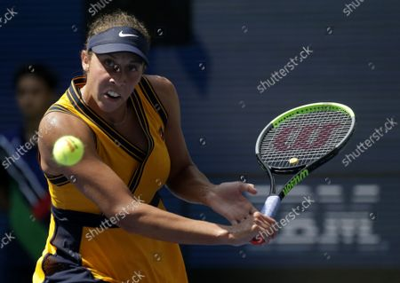 Madison Keys returns a ball to Sloane Stephens before losing in straight sets in Arthur Ashe Stadium in the first round of the 2021 US Open Tennis Championships at the USTA Billie Jean King National Tennis Center on Monday, August 30, 2021 in New York City.