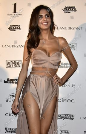 Model Bo Krsmanovic walks the red carpet during the Sports Illustrated Swimsuit 2016 fan festival at the 1 Hotel, Miami Beach on February 17, 2016.