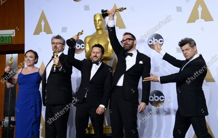Stock Picture of Actor Andy Serkis, right, and visual effects artists Mark Ardington, Paul Norris, Sara Bennett and Andrew Whitehurst, winners of the Best Visual Effects award for 'Ex Machina,' appear backstage at the 88th Academy Awards, at the Hollywood and Highland Center in the Hollywood section of Los Angeles on February 28, 2016.