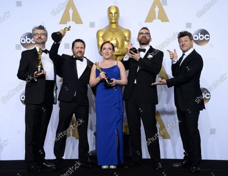 Stock Image of Actor Andy Serkis, right, and visual effects artists Mark Ardington, Paul Norris, Sara Bennett and Andrew Whitehurst, winners of the Best Visual Effects award for 'Ex Machina,' appear backstage at the 88th Academy Awards, at the Hollywood and Highland Center in the Hollywood section of Los Angeles on February 28, 2016.