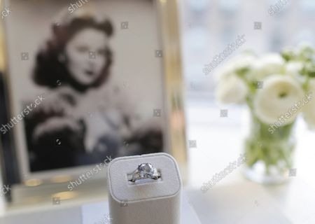 Stock Photo of The Shirley Temple Blue Diamond is on display before its auction at Sotheby's in New York City on March 18, 2016. The Shirley Temple Blue Diamond is a 9.54-Carat Fancy Deep Blue Diamond Ring Worn by American Hollywood child star Shirley Temple and is estimated to sell for $25-$35 million dollars. Temple's father purchased the diamond ring in early 1940 for $7,210 at around the time of her 12th birthday.