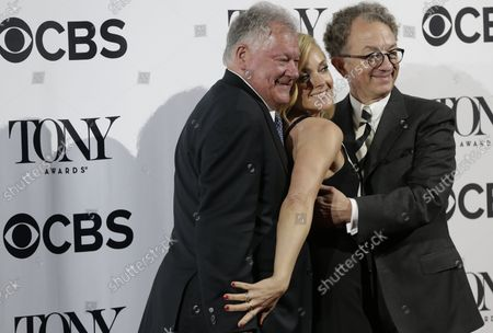 Robert Wankel, Jane Krakowski, William Ivey Long arrive on the red carpet at the 2016 Tony Awards Meet The Nominees Press Reception on May 4, 2016 in New York City. The 70th Annual Tony Awards will take place on June 12th.