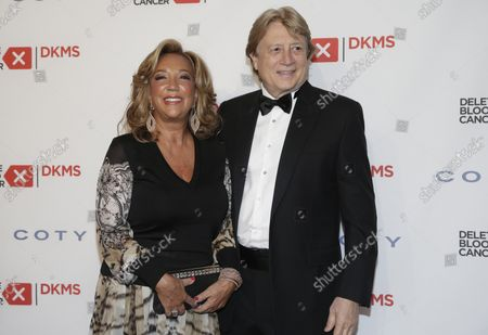 Denise Rich and Peter Cervinka arrive on the red carpet at the 10th Annual Delete Blood Cancer DKMS Gala at Cipriani Wall Street on May 5, 2016 in New York City.