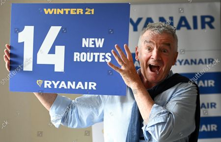 Ryanair CEO Michael O'Leary during a press conference in London, Britain, 31 August 2021. Ryanair chief Michael O'Leary announced his airlines winter 2021 schedule and said he wants to encourage the UK government to do away with PCR testing for fully vaccinated travellers.