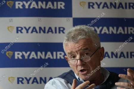 Chief Executive of Ryanair, Michael O'Leary, speaks during a press conference in London