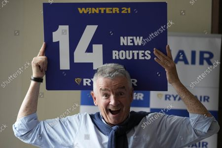 Chief Executive of Ryanair, Michael O'Leary, poses for photographers after a press conference in London