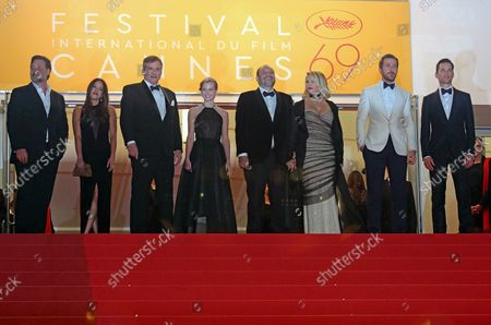 """Stock Picture of (From L to R)  Russell Crowe, Murielle Telio, Shane Black, Angourie Rice, Joel Silver, Karyn Fields, Ryan Gosling and Matt Bomer arrive on the steps of the Palais des Festivals before the screening of the film """"The Nice Guys"""" at the 69th annual Cannes International Film Festival in Cannes, France on May 15, 2016."""