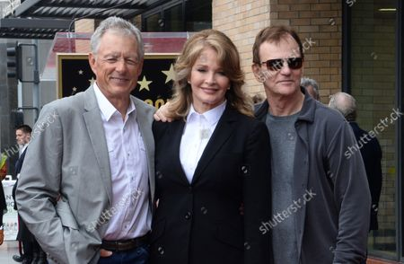 Actress Deidre Hall (C) is joined by actors Wayne Northrop (L), and Josh Taylor during an unveiling ceremony honoring her with the 2,581st star on the Hollywood Walk of Fame in Los Angeles on May 19, 2016.