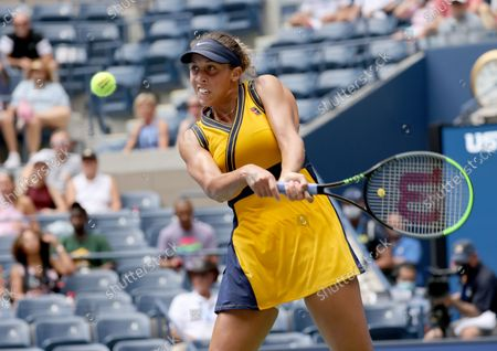 Stock Image of Tennis player Madison Keys Skilled in the 2021 US Open inside Arthur Ashe Stadium at the Billie Jean King Tennis Center in Flushing Meadows Corona Park in Flushing NY on August 30, 2021.