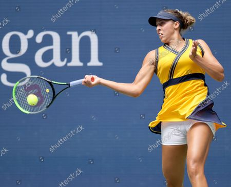 Tennis player Madison Keys Skilled in the 2021 US Open inside Arthur Ashe Stadium at the Billie Jean King Tennis Center in Flushing Meadows Corona Park in Flushing NY on August 30, 2021.