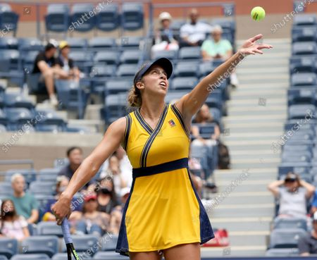 Stock Photo of Tennis player Madison Keys Skilled in the 2021 US Open inside Arthur Ashe Stadium at the Billie Jean King Tennis Center in Flushing Meadows Corona Park in Flushing NY on August 30, 2021.