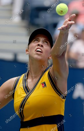 Stock Picture of Tennis player Madison Keys Skilled in the 2021 US Open inside Arthur Ashe Stadium at the Billie Jean King Tennis Center in Flushing Meadows Corona Park in Flushing NY on August 30, 2021.
