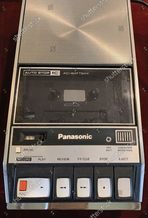 Stock Image of The tape recorder.  A fully-working Apple-1 computer has sold for £273,000.  The pioneering machine is one of the 200 'motherboards' Apple founder Steve Jobs and his associate Steve Wozniak designed in 1976.   Around 70 Apple-1 computers are known to exist today and of those less than 10 still work.