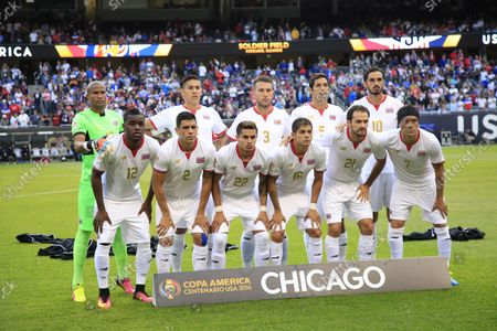 Costa Rica's Joel Campbell (Front L-R), Johnny Acosta, Ronald Matarrita, Cristian Gamboa, Marco Urena, Christian Bolanos (Back L-R), Patrick Pemberton, Oscar Duarte, Francisco Calvo, Celso Borges and Bryan Ruiz pose for a team photo before a 2016 Copa America Centenario Group A match against the United States at Soldier Field in Chicago on June 7, 2016. The United States defeated Costa Rica 4-0.