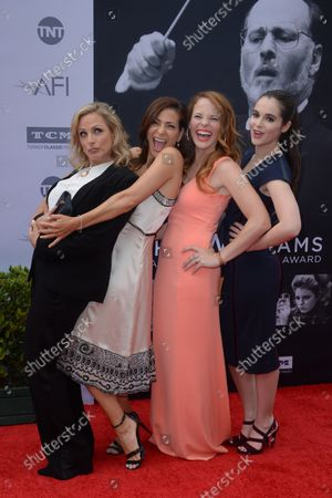 Stock Image of Actresses Marlee Matlin, Constance Marie, Katie Leclerc and Vanessa Marano (L-R) attend American Film Institute's 44th Life Achievement Award gala tribute to composer John Williams at the Dolby Theatre in the Hollywood section of Los Angeles on June 9, 2016. Over six decades in Hollywood, Williams has written some of the most memorable music in movie history. His 100-plus features have earned 50 Academy Award nominations (making him the most-nominated living person), winning five times. Williams also received 22 Grammys, seven BAFTAs, five Emmys, four Golden Globes, a Kennedy Center Honor and the National Medal of Arts. And then there are all those iconic themes, the ones everyone in the world knows.