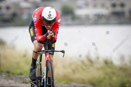 Tom Dumoulin in action during the second stage of the Benelux Tour, a 11.1 km time trial in Lelystad.
