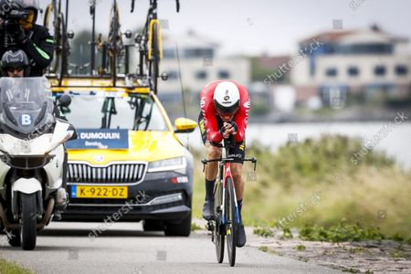 Stock Picture of Tom Dumoulin in action during the second stage of the Benelux Tour, a 11.1 km time trial in Lelystad.