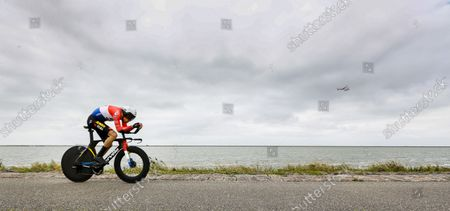 Stock Image of Tom Dumoulin in action during the second stage of the Benelux Tour, a 11.1 km time trial in Lelystad.