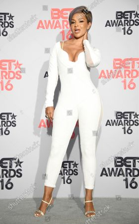 Stock Picture of Actress LisaRaye McCoy-Misick appears backstage during the 16th annual BET Awards at Microsoft Theater in Los Angeles on June 26, 2016.