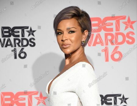 Stock Photo of Actress LisaRaye McCoy-Misick appears backstage during the 16th annual BET Awards at Microsoft Theater in Los Angeles on June 26, 2016.