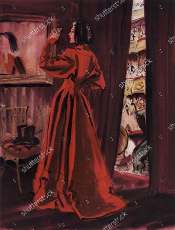 Illustration of a woman behind a curtain at an opera theater, wearing a voluminous, red coat by Balenciaga, dolman-sleeved and buttoned down the front with a narrow waist.