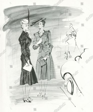 Illustration of two models standing outside in front of a car and uniformed doorman, each wearing skirt suits with white hats. On the left, the model wears Creed's black tweed suit with Descat's piqué pill-box hat, and on the right the model wears a grey-and-white sheer wool suit by Balenciaga with Descat's quilted white silk sailor hat.